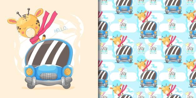 Ręcznie rysowane cute żyrafa z niebieskim samochodem