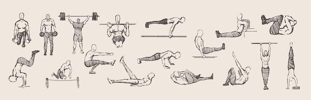 Ręcznie rysowane ćwiczenia kalisteniki trening zestaw ćwiczeń