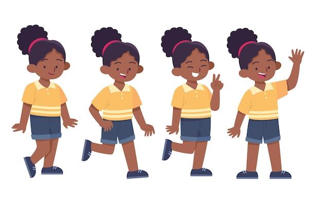 Ręcznie rysowane czarna dziewczyna w kolekcji różnych pozach
