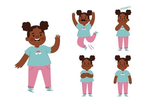 Ręcznie rysowane czarna dziewczyna w różnych pozach