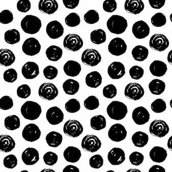Ręcznie rysowane czarne koła bez szwu wzór na białym tle