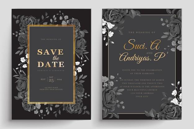Ręcznie rysowane czarne róże karta zaproszenie
