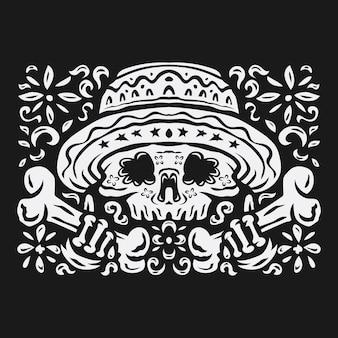 Ręcznie rysowane czarno-białe tło da de muertos w płaskiej konstrukcji