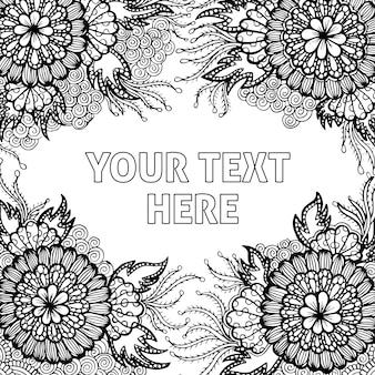 Ręcznie rysowane czarno-białe tło dla dorosłych kolorowanki