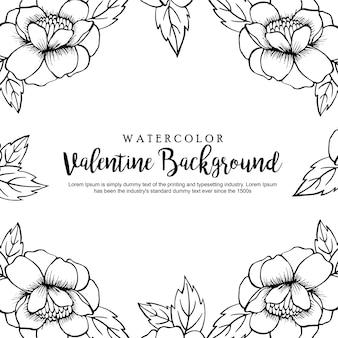 Ręcznie rysowane czarno-białe tło valentine valentine