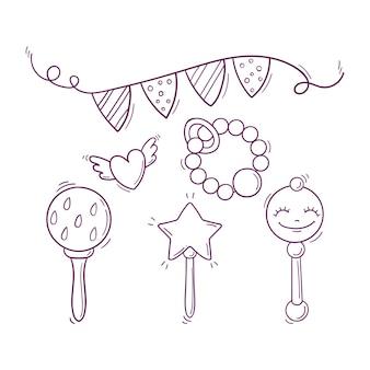 Ręcznie rysowane czarno-białe zabawki dla dzieci, grzechotki, świąteczna girlanda i latające serce.