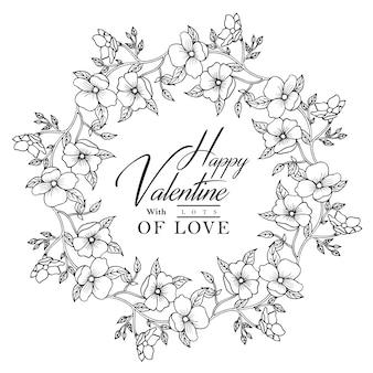 Ręcznie rysowane czarno-biały valentine wieniec kwiatowy