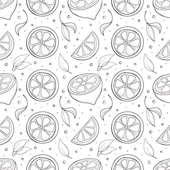 Ręcznie rysowane czarno-biały wzór z cytryn i liści.