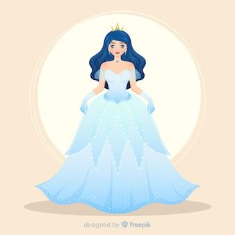 Ręcznie rysowane czarnowłosy portret księżniczki