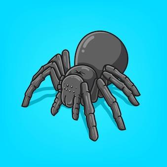 Ręcznie rysowane czarny pająk ikona ilustracja kreskówka wektor