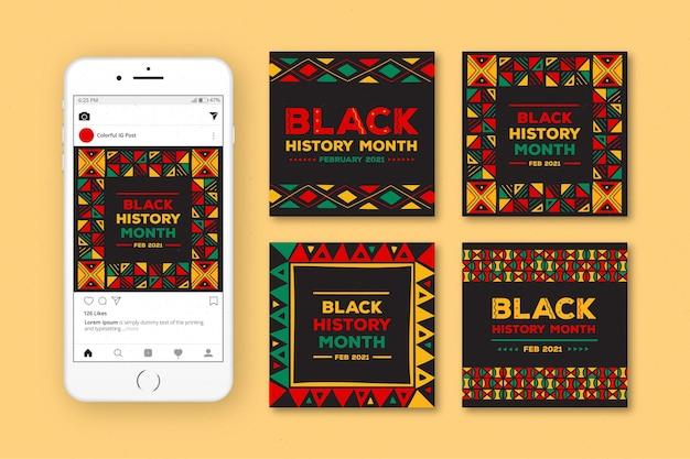 Ręcznie rysowane czarny pakiet postów na instagramie z miesiąca historii
