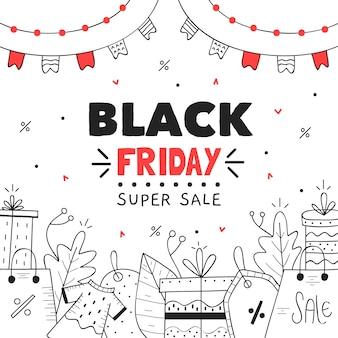 Ręcznie rysowane czarny piątek super sprzedaż transparent