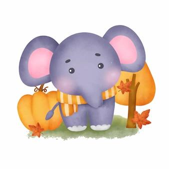 Ręcznie rysowane czas jesieni ze słodkim słoniem w stylu przypominającym akwarele.