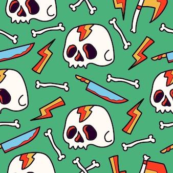 Ręcznie rysowane czaszki doodle wzór kreskówki