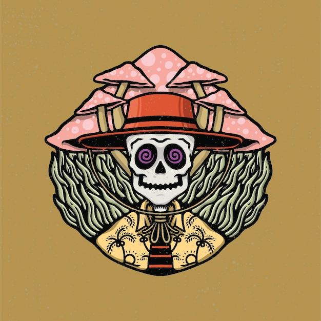 Ręcznie rysowane czaszki i grzybów w stylu tatuażu starej szkoły.