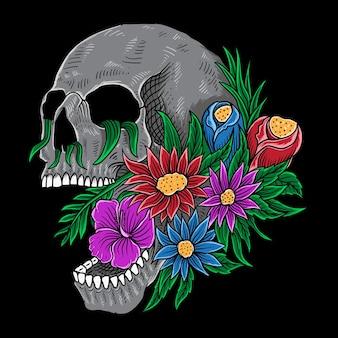 Ręcznie rysowane czaszki i kwiat na białym tle dekoracji