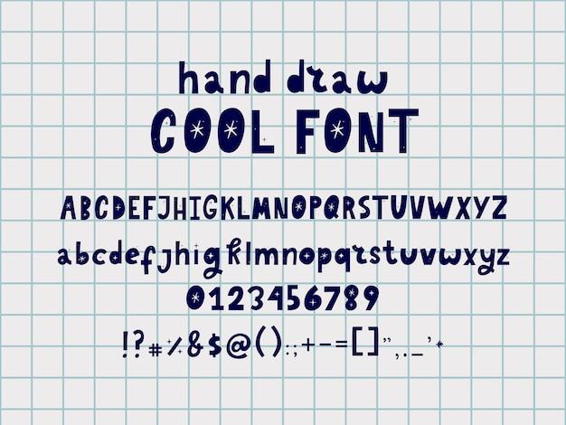 Ręcznie rysowane czcionki doodle alfabet