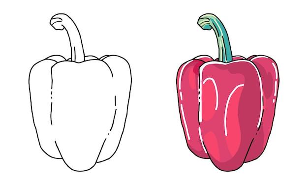 Ręcznie rysowane czerwona papryka kolorowanka dla dzieci