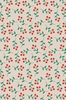 Ręcznie rysowane czerwone jagody wzór