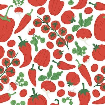Ręcznie rysowane czerwone warzywa wektor wzór