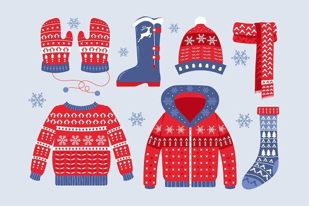 Ręcznie rysowane czerwone zimowe ubrania