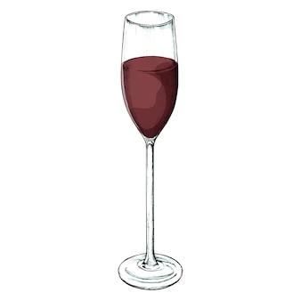 Ręcznie rysowane czerwonego wina szkła