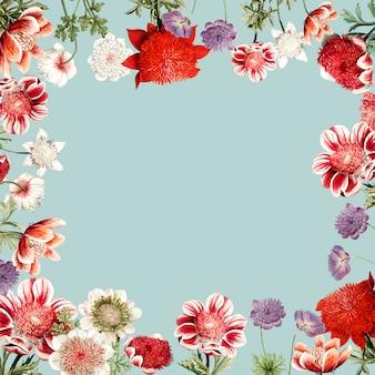 Ręcznie rysowane czerwony kwiat rama z anemone projekt przestrzeni