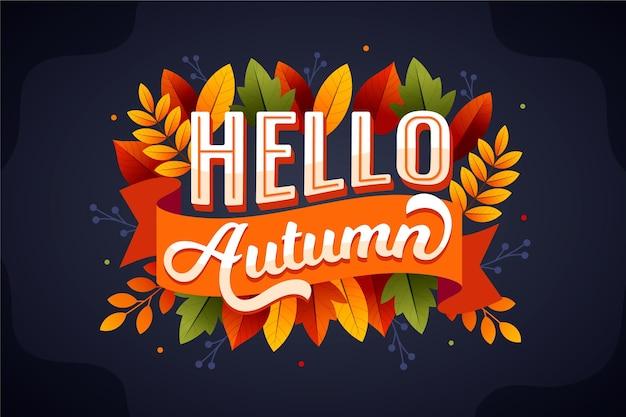 Ręcznie rysowane cześć jesień napis