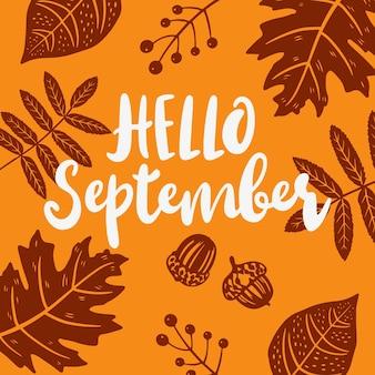Ręcznie rysowane cześć września napis