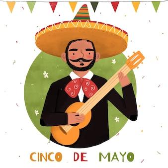 Ręcznie rysowane człowiek cinco de mayo i gitara
