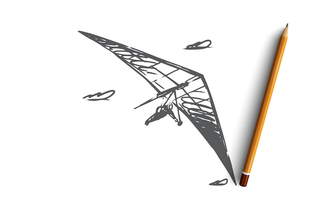 Ręcznie rysowane człowiek latający z lotnia szkic koncepcji