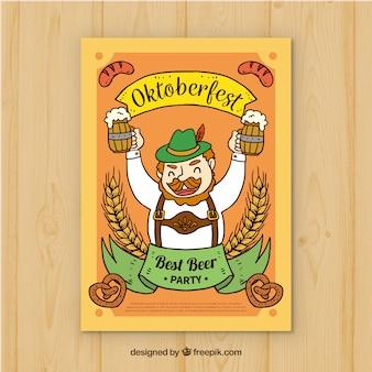 Ręcznie rysowane człowiek pije piwo w oktoberfest