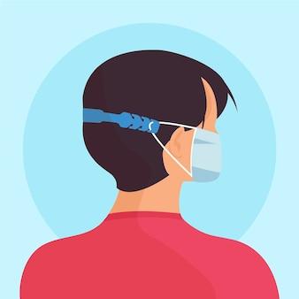 Ręcznie rysowane człowiek ubrany w regulowany pasek maski medycznej