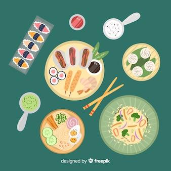 Ręcznie rysowane danie kolekcja żywności