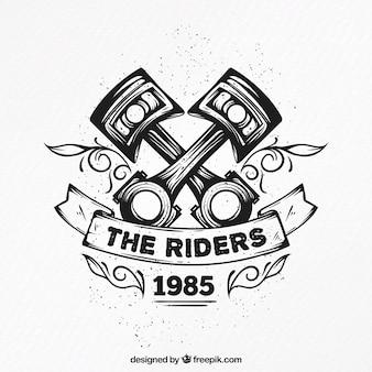 Ręcznie rysowane dekoracyjne motocykl odznaka