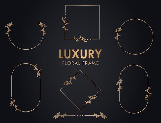 Ręcznie rysowane dekoracyjne wieńce konturowe z gałęziami, luksusowe okrągłe ramki kwiatowe, wieniec kwiatowy premium.