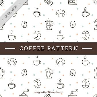 Ręcznie rysowane dekoracyjny wzór z jedzeniem i kawą