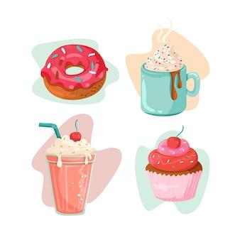 Ręcznie rysowane deser kolekcji