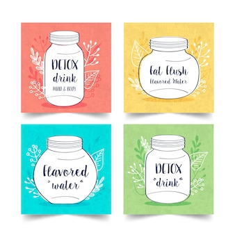 Ręcznie rysowane detox dieta kolekcja napojów