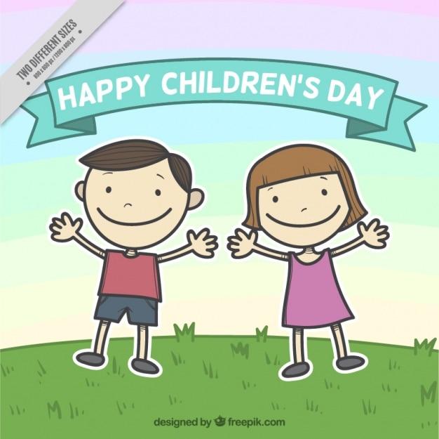 Ręcznie rysowane dniową tle happy dzieci