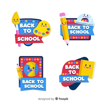Ręcznie rysowane do kolekcji etykiet szkolnych