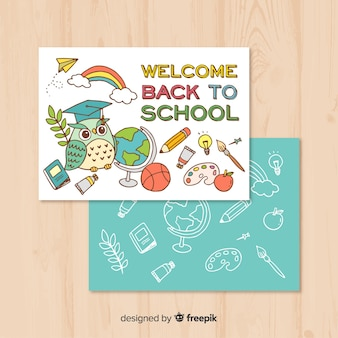 Ręcznie rysowane do szablonu karty szkoły