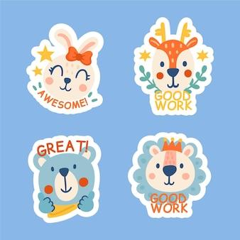 Ręcznie rysowane dobrą robotę i świetne naklejki pracy