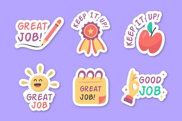 Ręcznie rysowane dobry pakiet naklejek pracy