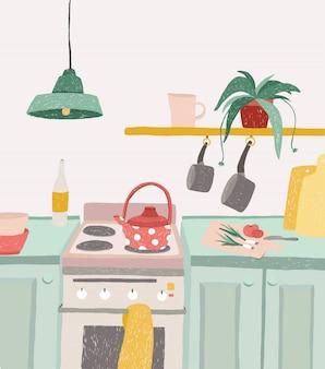Ręcznie rysowane domowe gotowanie w stylu cartoon. kolorowe doodle wnętrze kuchni z naczyniami, czajnikiem, piekarnikiem, kuchenką, naczyniami. ilustracja.