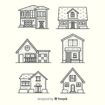 Ręcznie rysowane domy kolekcji