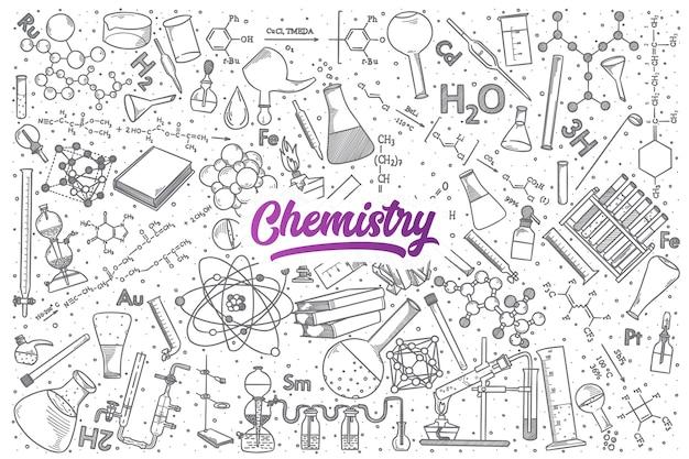 Ręcznie rysowane doodle chemii tło z fioletowym napisem