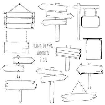 Ręcznie rysowane doodle drewniany znak kolekcja