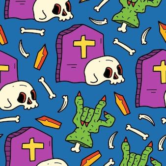Ręcznie rysowane doodle halloween ilustracja kreskówka wzór projektu