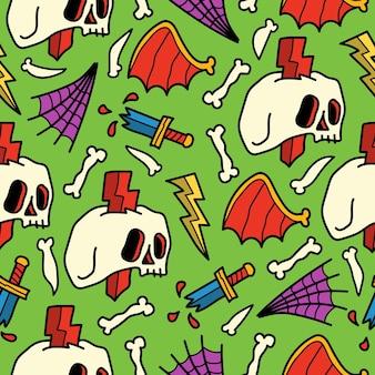 Ręcznie rysowane doodle halloween kreskówka wzór bez szwu